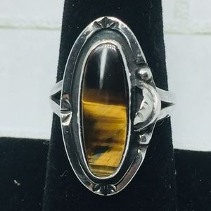 Vintage Jewelry - Vintage Sterling Tiger's Eye Feather Mexico Ring